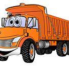 Dump Truck 3 Axle Orange Cartoon by Graphxpro