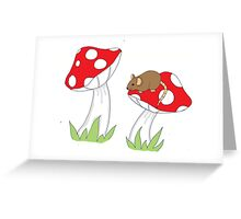 Mouse on Toadstool Greeting Card