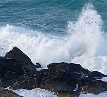 Rough seas in St Ives Cornwall by Keith Larby