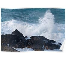 Rough seas in St Ives Cornwall Poster