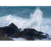 Rough seas in St Ives Cornwall Photographic Print