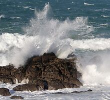 Sea hitting the rocks at St Ives Cornwall by Keith Larby