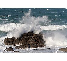 Sea hitting the rocks at St Ives Cornwall Photographic Print