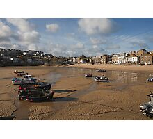 Low tide in St Ives harbour Cornwall Photographic Print
