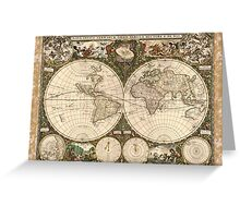 A New Map for All the World(1660) Brightly Colored Greeting Card