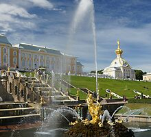 Samson and Grand Cascade fountains in Peterhof by olegkuzmin