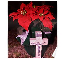 Poinsetta Cross Artistic Photograph by Shannon Sears Poster