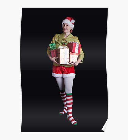 Santa's Helper Merry Christmas Elf Card Poster