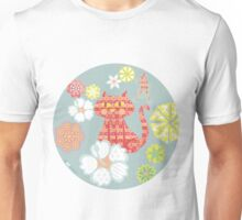 Groovy Cat with flowers  Unisex T-Shirt