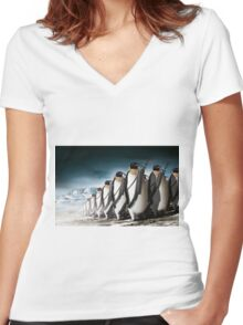 Penguin Army Women's Fitted V-Neck T-Shirt