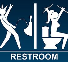 Metal Restroom Sign by Arlyne D'Alessandro