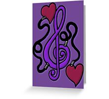 Purple My Heart's Plugged In To Music Greeting Card