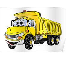 Dump Truck 3 Axle Yellow Cartoon Poster
