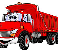 Dump Truck 3 Axle Red Cartoon by Graphxpro