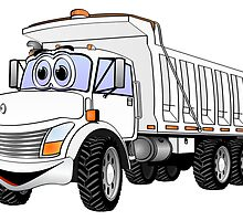Dump Truck 3 Axle White Cartoon by Graphxpro