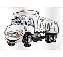 Dump Truck 3 Axle White Cartoon Poster