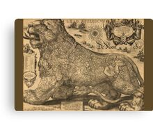 Leo Belgicus - Map of Belgium, Luxemburg and the Netherlands 1611 Canvas Print