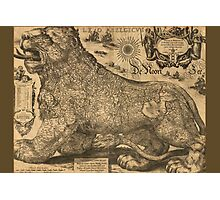 Leo Belgicus - Map of Belgium, Luxemburg and the Netherlands 1611 Photographic Print