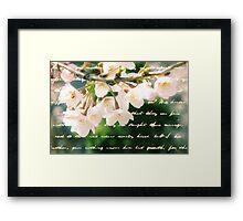 Beautiful Cherry Blossoms Antique Handwritten Letter Overlay Framed Print