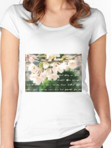 Beautiful Cherry Blossoms Antique Handwritten Letter Overlay Women's Fitted Scoop T-Shirt
