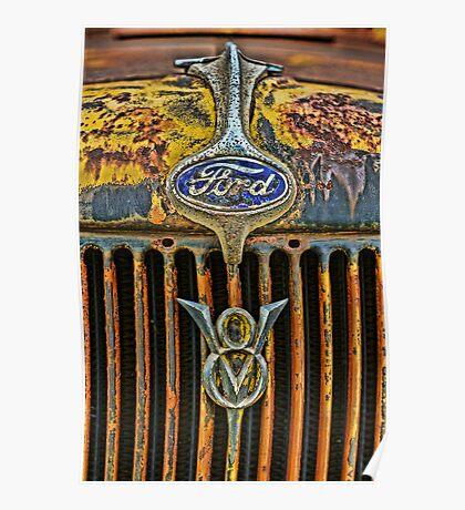 Vintage Ford V8 Grille and Emblem Poster