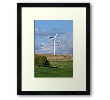 Kansas Windmill and Wind Turbine Framed Print