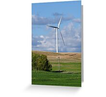 Kansas Windmill and Wind Turbine Greeting Card