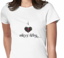 I <3 Sniper Rifles (black & red) Womens Fitted T-Shirt