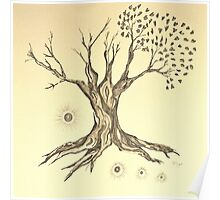 Growing Serenity Tree in Sepia Poster