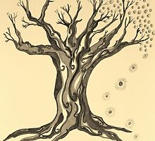 Standing Strong Serenity Tree in Sepia by Mary-Jeanne Smith