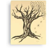 Standing Strong Serenity Tree in Sepia Canvas Print