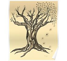 Standing Strong Serenity Tree in Sepia Poster