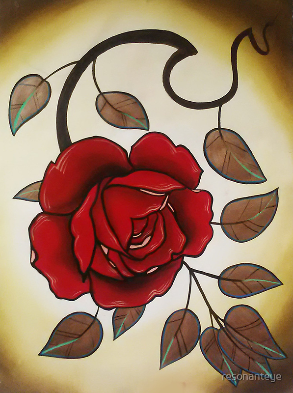 simple rose tattoo art. by resonanteye