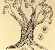 Shining in Serenity Tree in Sepia by Mary-Jeanne Smith