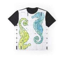 Yellow and Blue Seahorse  Graphic T-Shirt
