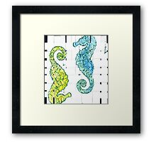 Yellow and Blue Seahorse  Framed Print