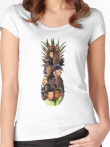 Pineapple Outline Psych Cast w/o Gradient Women's Fitted Scoop T-Shirt