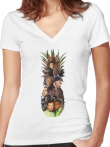 Pineapple Outline Psych Cast w/o Gradient Women's Fitted V-Neck T-Shirt