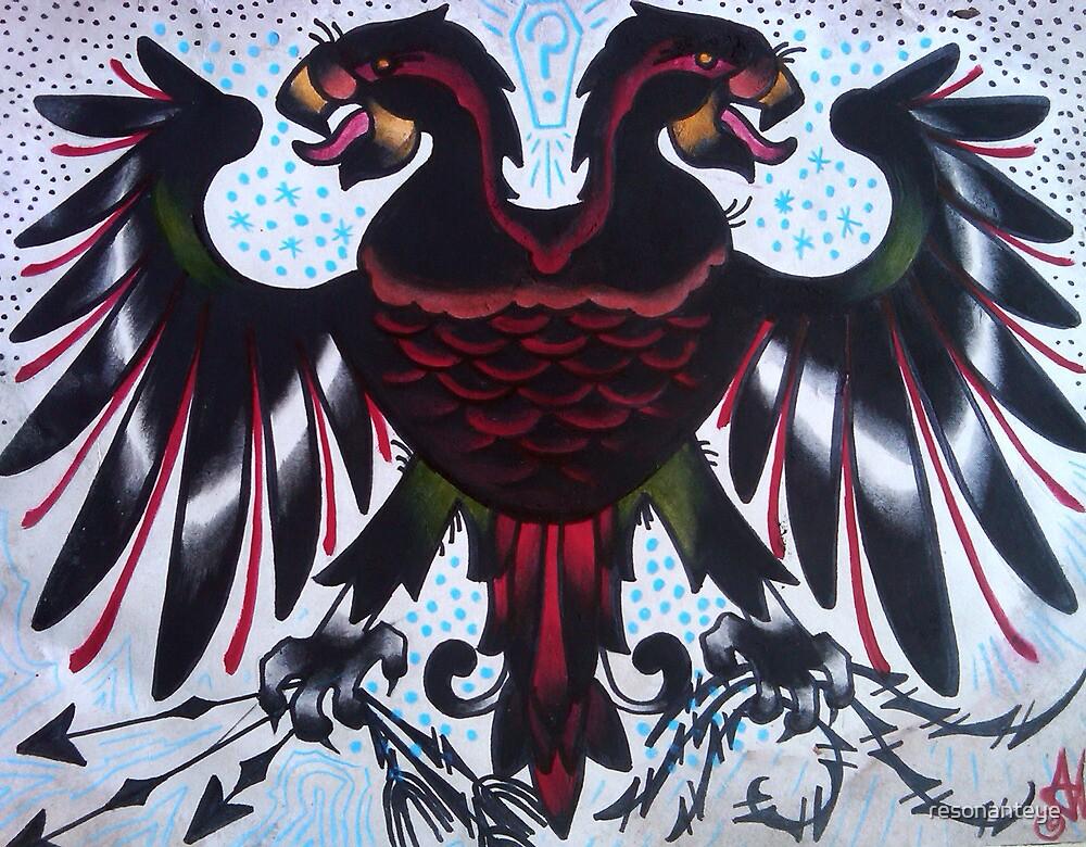 double headed eagle tattoo painting. by resonanteye