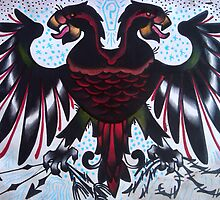 double headed eagle tattoo painting. by resonanteye