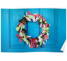 christmas wreath  - greeting card Poster