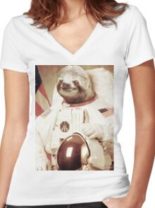 Astronaut Sloth Women's Fitted V-Neck T-Shirt