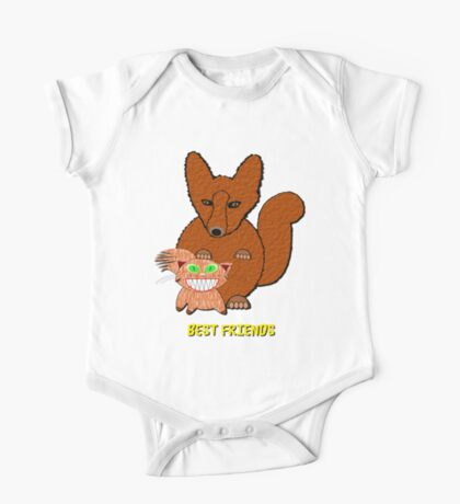 Fox & Cat Best Friends T-shirt One Piece - Short Sleeve