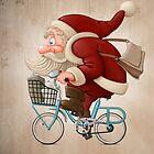 Santa Claus rides a bicycle by jordygraph