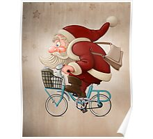 Santa Claus rides a bicycle Poster
