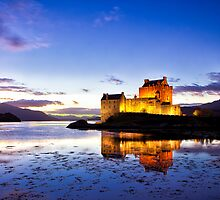 Dusk Eilean Donan Castle and Loch Alsh, Scotland by Mark Kenwood