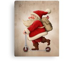 Santa Claus and the Push scooter Canvas Print