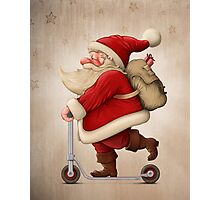 Santa Claus and the Push scooter Photographic Print