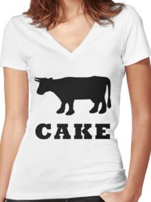 BEEF CAKE WITH COW Women's Fitted V-Neck T-Shirt