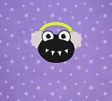 Cute Cartoon Bug Earflaps Purple Winter by Boriana Giormova